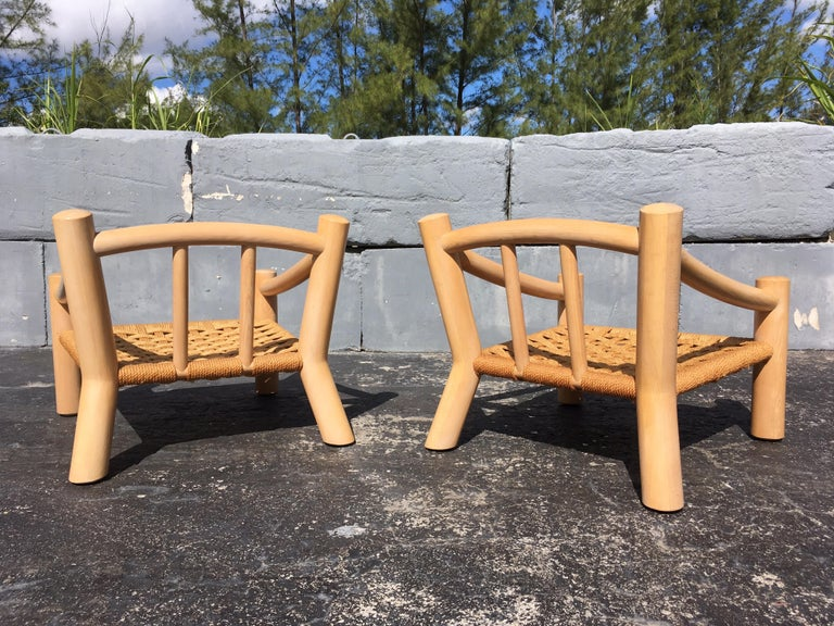 American Pair of Lounge Chairs, Solid Wood with Rope, Down Filled Cushions For Sale