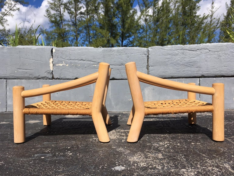 Pair of Lounge Chairs, Solid Wood with Rope, Down Filled Cushions In Good Condition For Sale In Opa Locka, FL