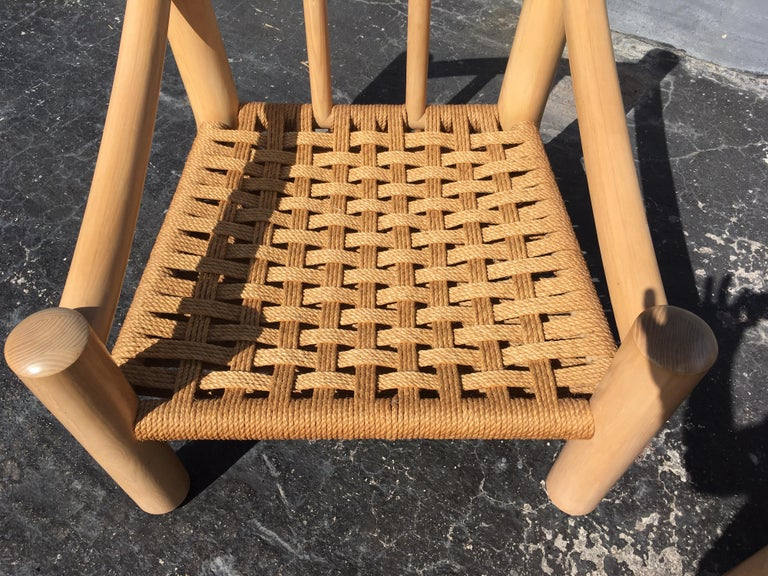 Pair of Lounge Chairs, Solid Wood with Rope, Down Filled Cushions For Sale 1