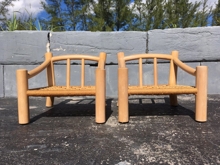 Pair of Lounge Chairs, Solid Wood with Rope, Down Filled Cushions For Sale 2