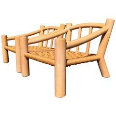 Pair of Lounge Chairs, Solid Wood with Rope, Down Filled Cushions