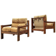 Pair of Lounge Chairs with Decorative Frame in Ash and Suede Cushions