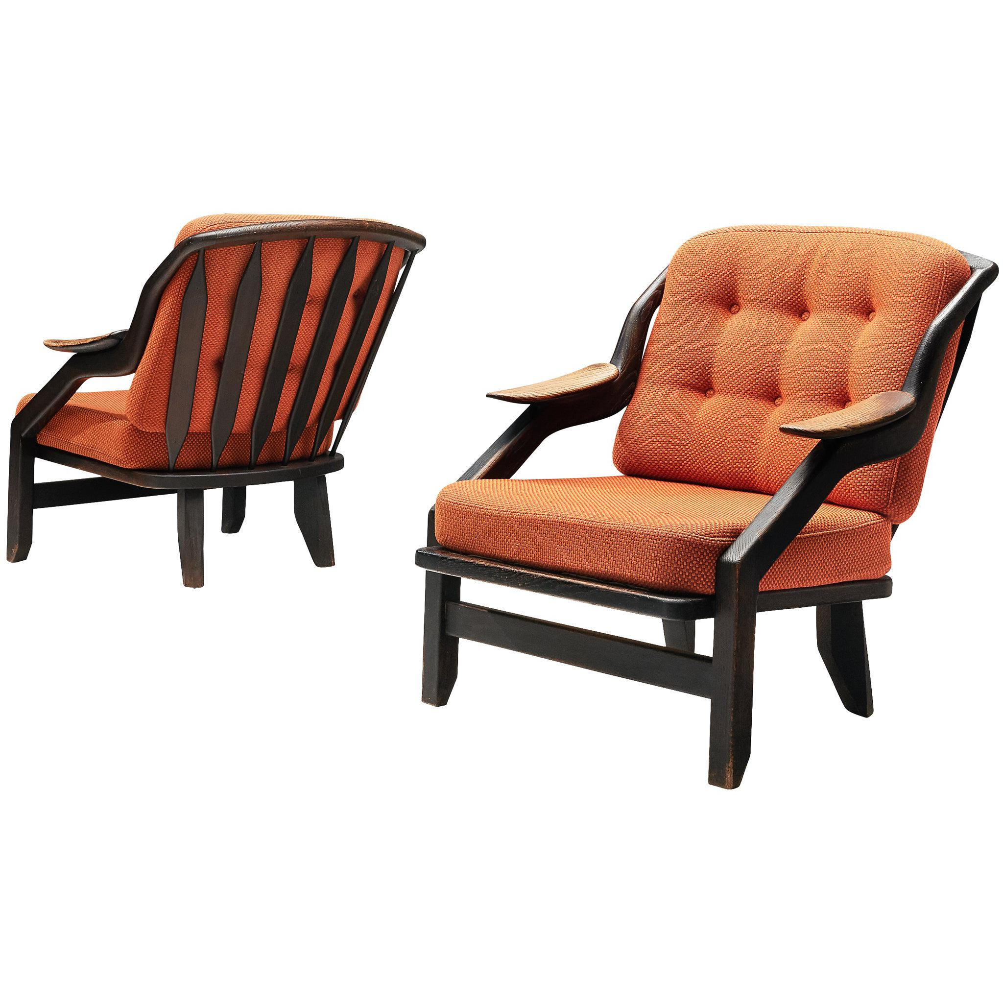 Pair of Lounge Chairs with Orange Upholstery by Guillerme & Chambron