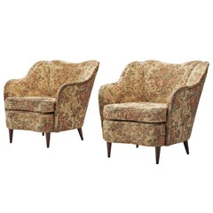 Pair of Lounge Chairs with Original Floral Upholstery