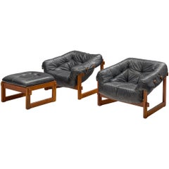Pair of Lounge Chairs with Ottoman in Black Leather by Percival Lafer
