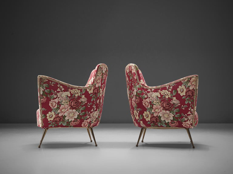 Pair of Lounge Chairs with Red Floral Upholstery by ISA Bergamo In Good Condition For Sale In Waalwijk, NL