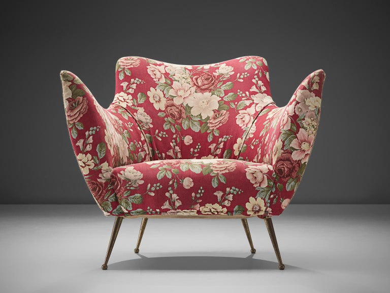 Mid-20th Century Pair of Lounge Chairs with Red Floral Upholstery by ISA Bergamo For Sale