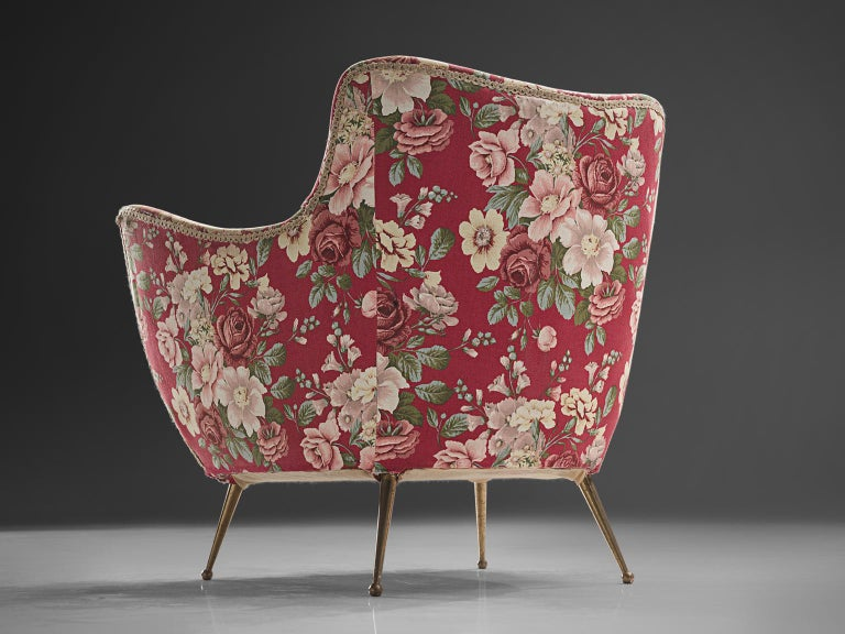 Brass Pair of Lounge Chairs with Red Floral Upholstery by ISA Bergamo For Sale