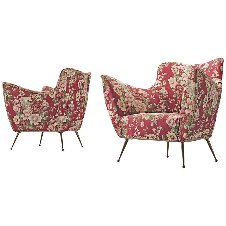 Pair of Lounge Chairs with Red Floral Upholstery by ISA Bergamo For Sale
