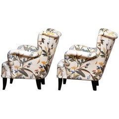 Pair of Lounge/Easy Chairs, Ilmari Lappalainen for Asko with Josef Frank Fabric