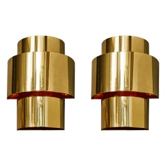 Pair of Lovelamp Wall Sconces in Brass and Copper by Willy Rizzo