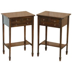 Pair of Lovely 1880 Victorian Mahogany Three-Drawer Side End Lamp Wine Tables