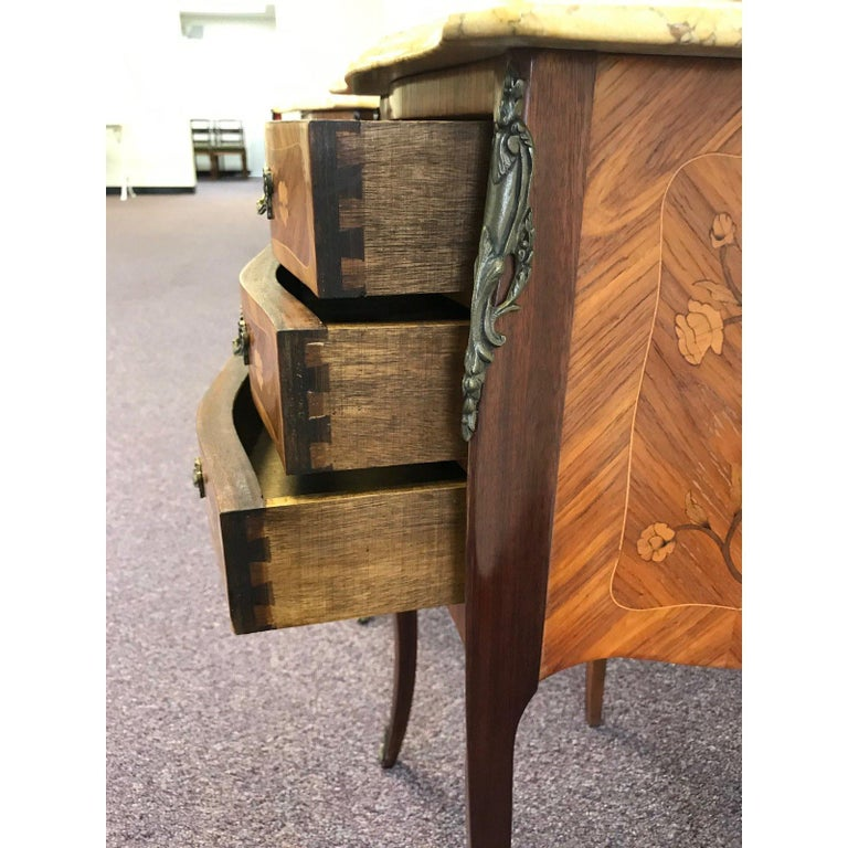 Pair of Lovely 20th Century French Marble and Wood Side Tables Nightstands For Sale 6