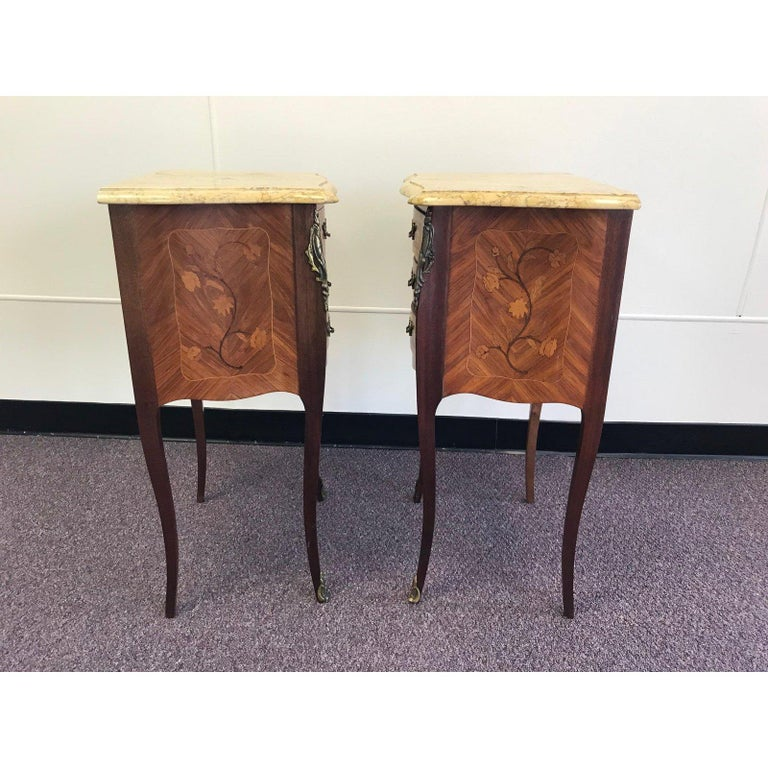 Louis XV Pair of Lovely 20th Century French Marble and Wood Side Tables Nightstands For Sale