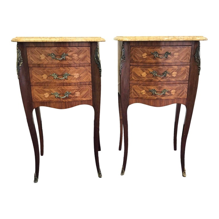 Pair of Lovely 20th Century French Marble and Wood Side Tables Nightstands For Sale
