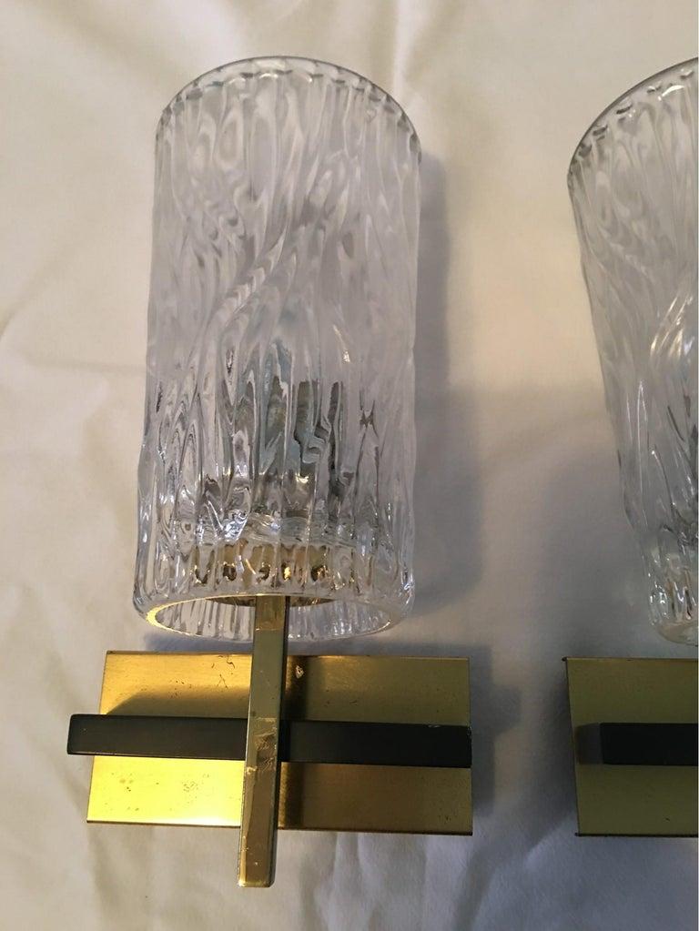 Mid-20th Century Pair of Lovely Austrian Kalmar Style Glass Sconces For Sale
