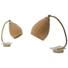 Pair of Lovely Brass and Wicker Table Lamps from the 1950s, Austria