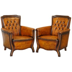 Pair of Lovely Fully Restored Chesterfield Club Whiskey Brown Leather Armchairs
