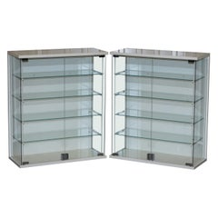Pair of Lovely Glass Display Cases or Bathroom Cabinets Metal Frames Lovely