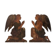 Pair of Lovely Italian 19th Century Painted Wood Angel Plaques