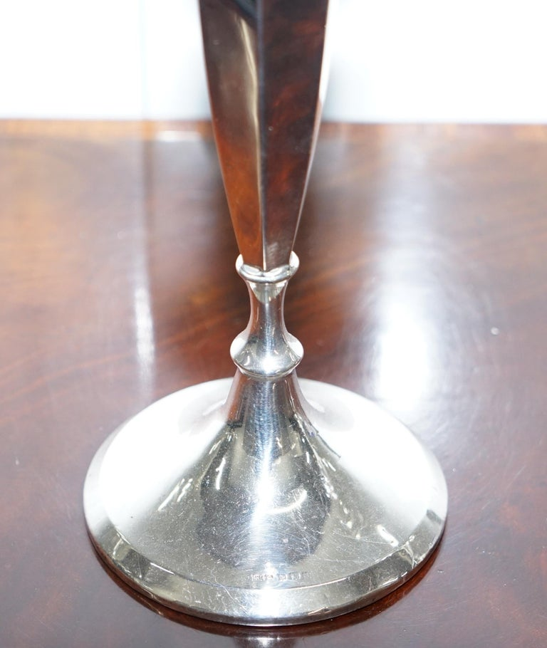 Pair of Lovely Large King George V Sterling Silver Candlesticks Birmingham, 1920 For Sale 2