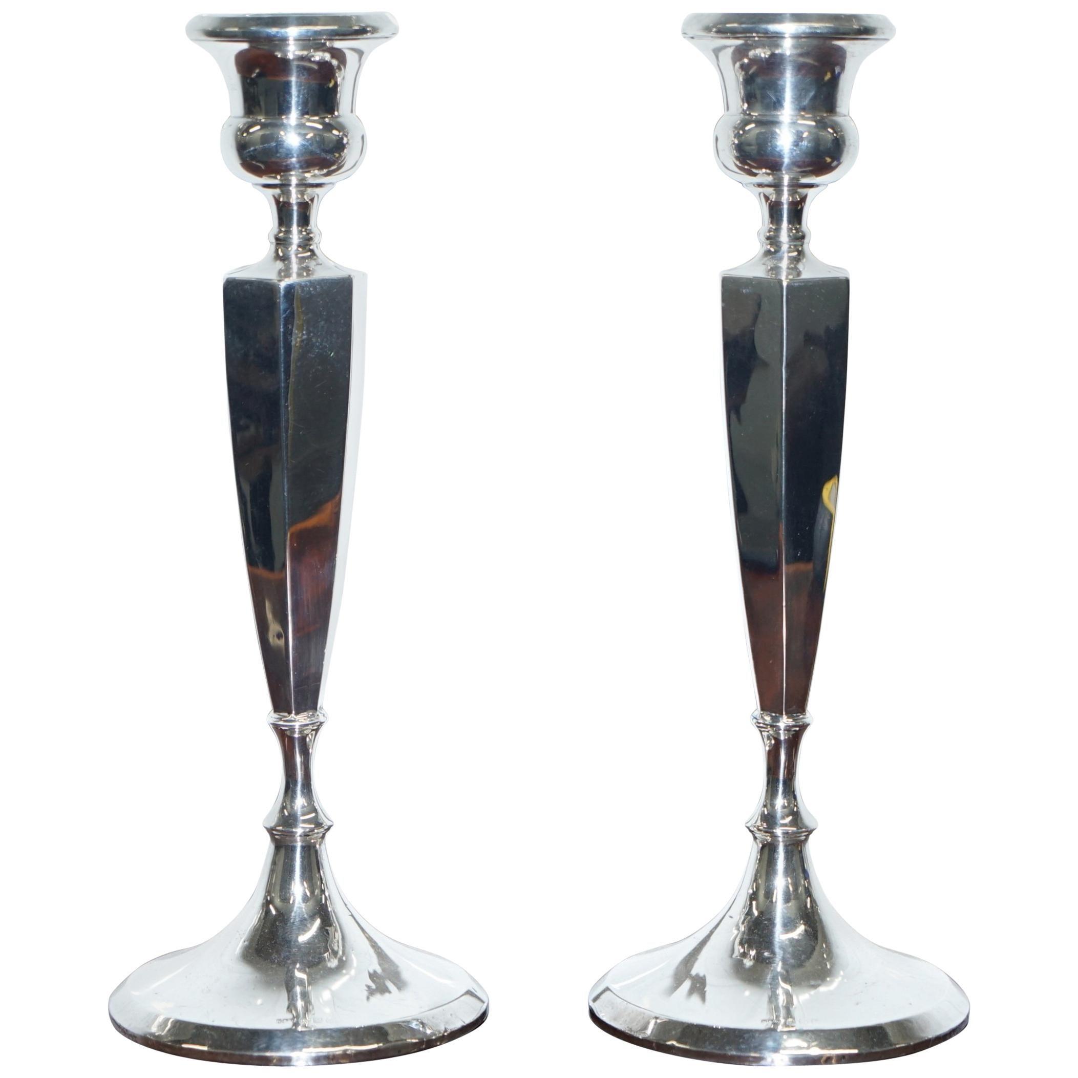 Pair of Lovely Large King George V Sterling Silver Candlesticks Birmingham, 1920