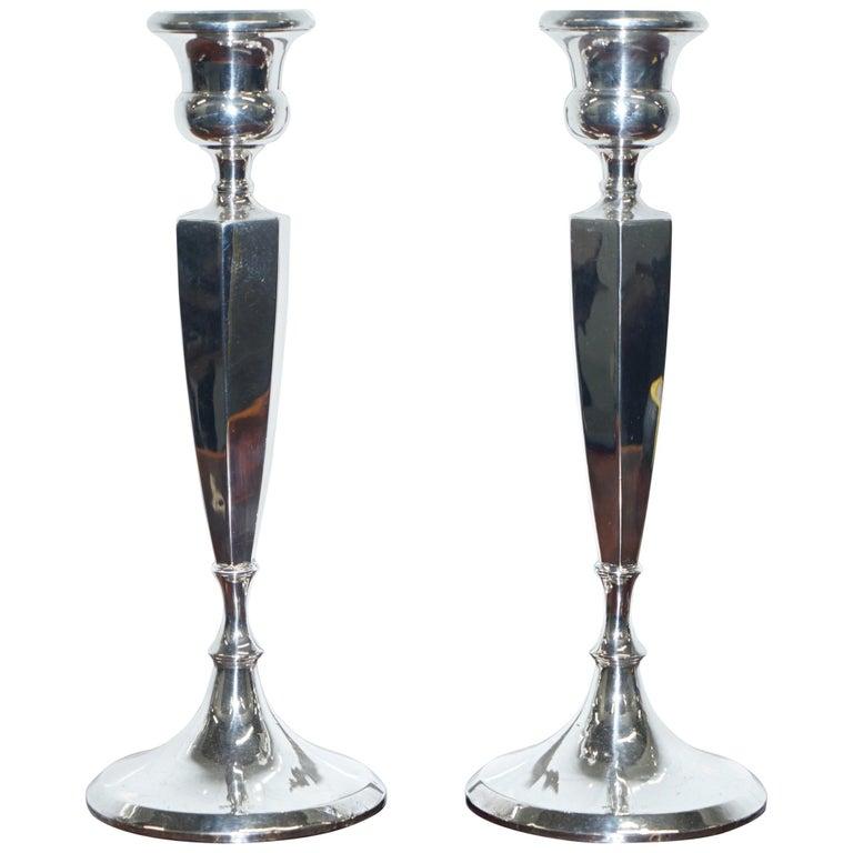 Pair of Lovely Large King George V Sterling Silver Candlesticks Birmingham, 1920 For Sale