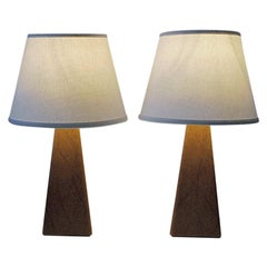 Pair of Lovely Nordic Brown Leatherette Table Lamps, 1950s