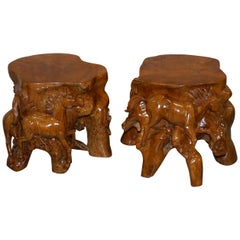Pair of Lovely Root Wood Carved Equestrian Galloping Horse Side End Lamp Tables