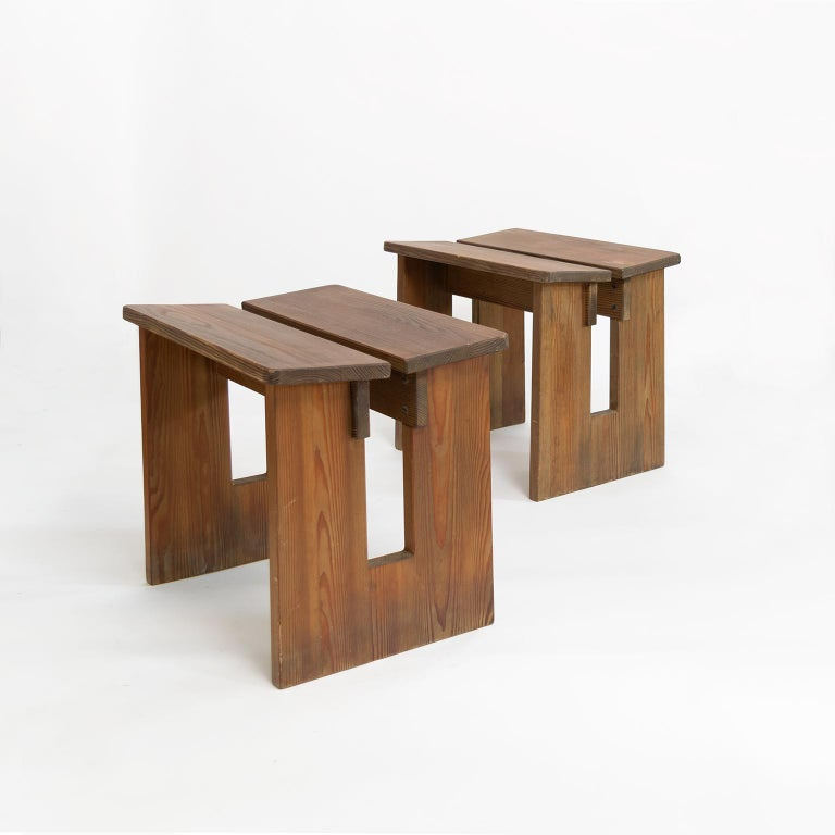"""A pair of Scandinavian Modern Lovö stool by Sweden's most accomplished furniture designer Axel Einar Hjorth is renowned for his elegant 1920s """"Swedish Grace"""" furniture pieces many of which had a delicate and refined reference to"""