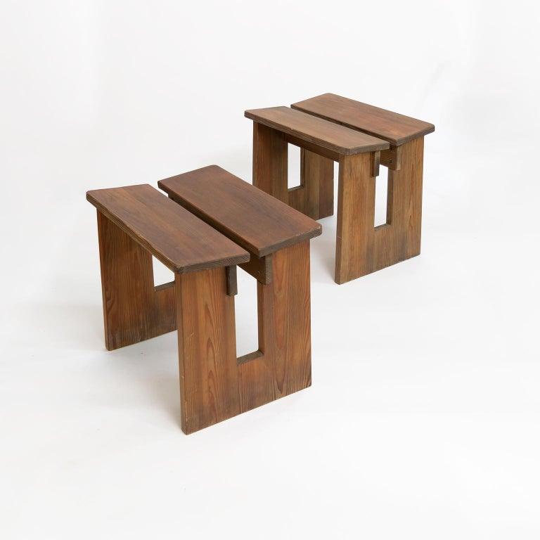 20th Century Pair of Lovö Stools by Axel Einar Hjorth, Scandinavian Modern For Sale