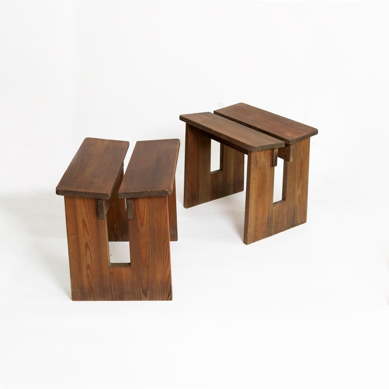 Pine Pair of Lovö Stools by Axel Einar Hjorth, Scandinavian Modern For Sale