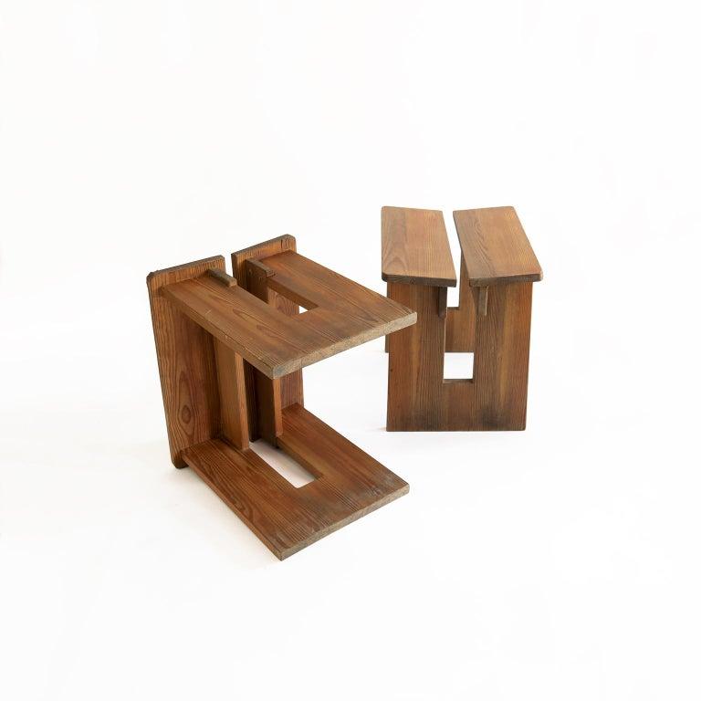 Pair of Lovö Stools by Axel Einar Hjorth, Scandinavian Modern For Sale 2