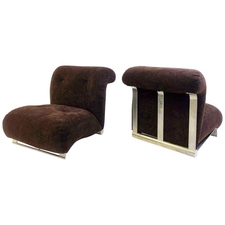 Pair of Low Armchairs Brushed Chrome with Brown Velvet Cushions, circa 1970s For Sale