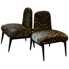 Pair of Low Chairs, Ebonized Mahogany, Print Tiger Silk Velvet, Italy, 1950s
