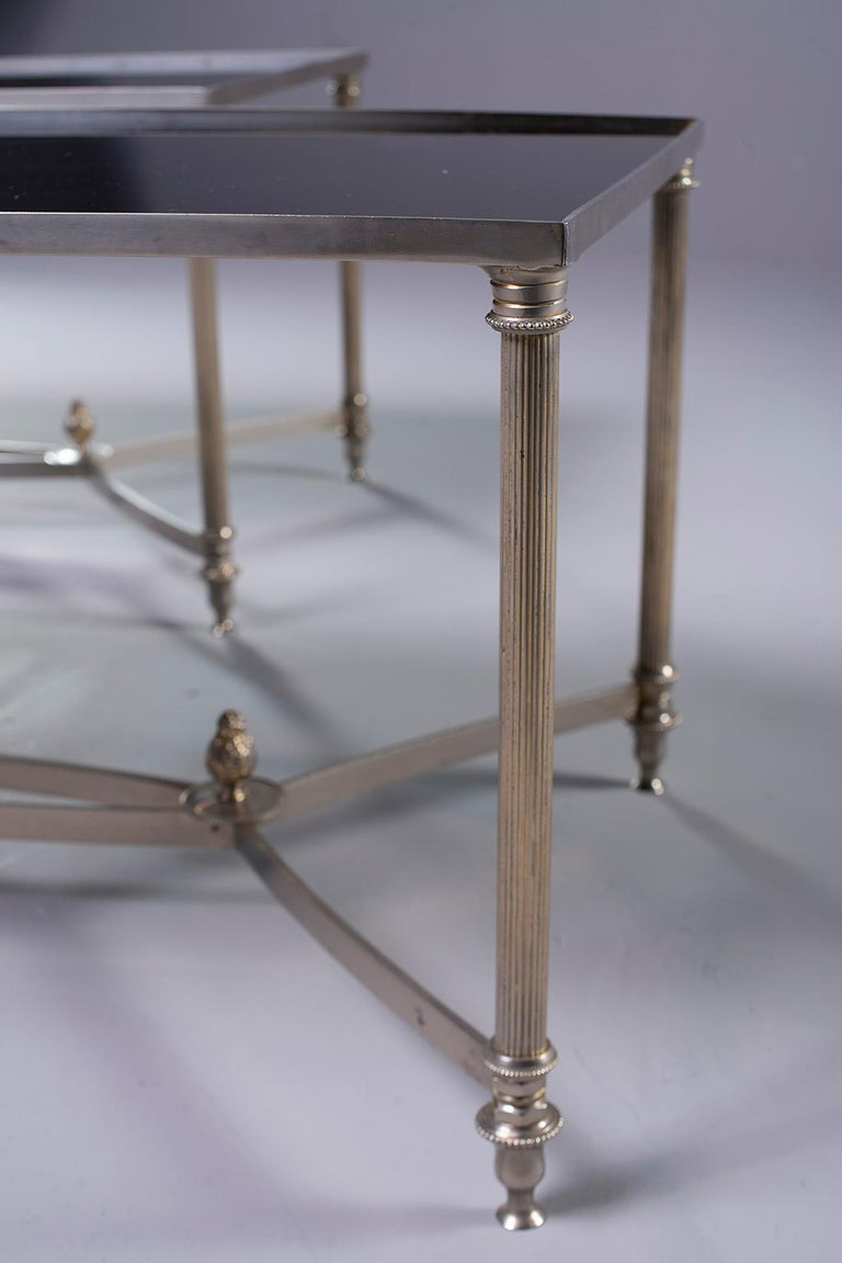 Neoclassical Pair of Low Cocktail Tables with Black Glass in the Style of Maison Baguès For Sale