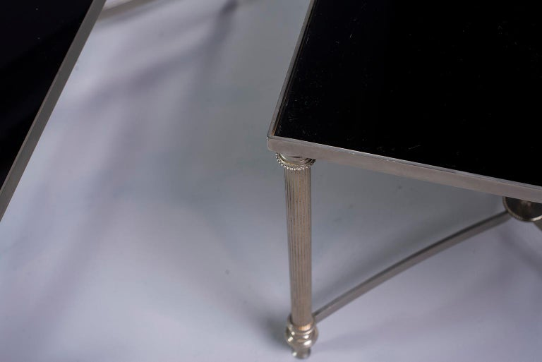 French Pair of Low Cocktail Tables with Black Glass in the Style of Maison Baguès For Sale
