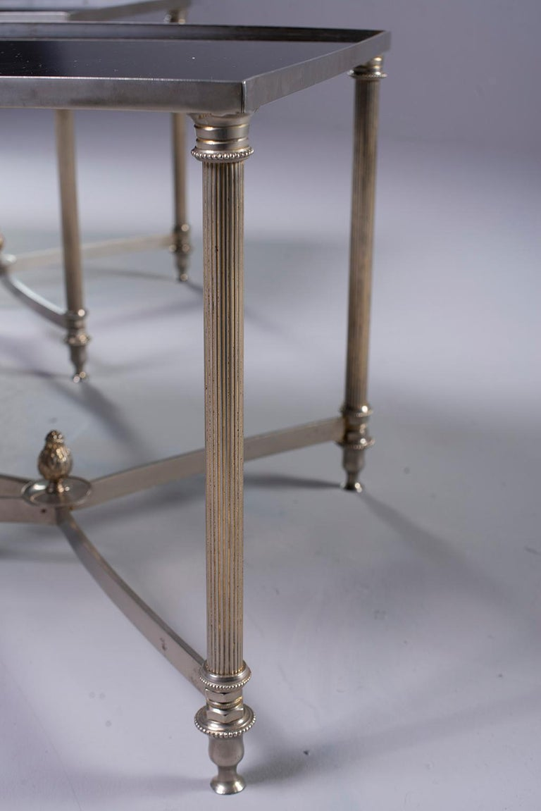 20th Century Pair of Low Cocktail Tables with Black Glass in the Style of Maison Baguès For Sale