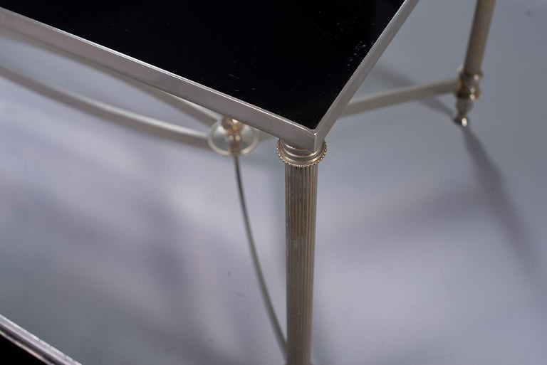 Metal Pair of Low Cocktail Tables with Black Glass in the Style of Maison Baguès For Sale