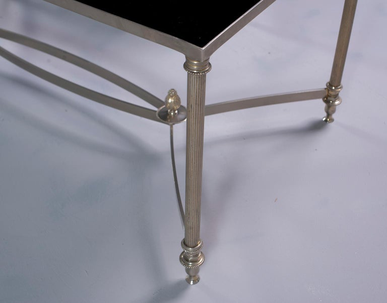 Pair of Low Cocktail Tables with Black Glass in the Style of Maison Baguès For Sale 2