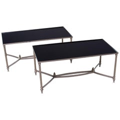 Pair of Low Cocktail Tables with Black Glass in the Style of Maison Baguès