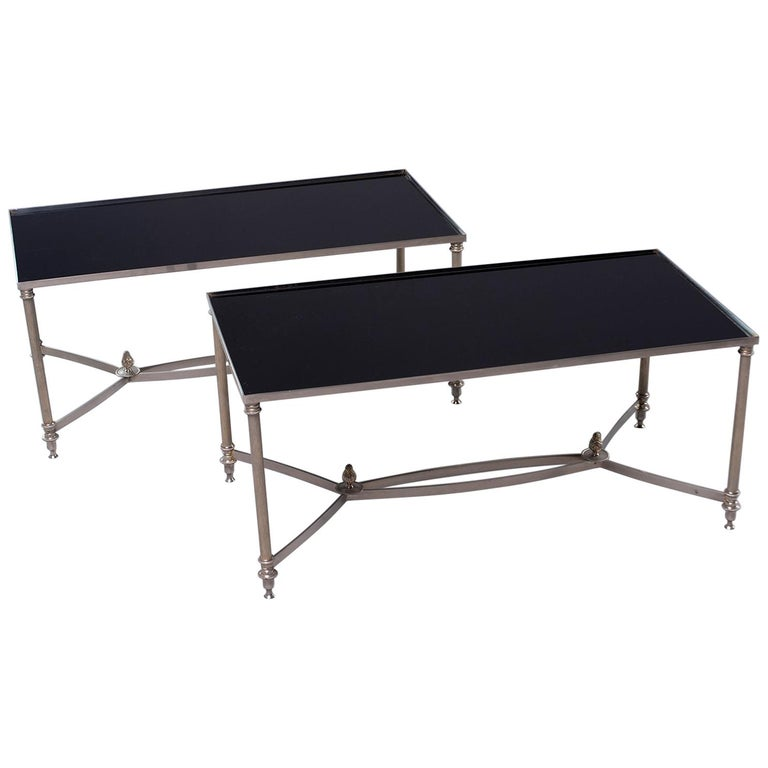 Pair of Low Cocktail Tables with Black Glass in the Style of Maison Baguès For Sale