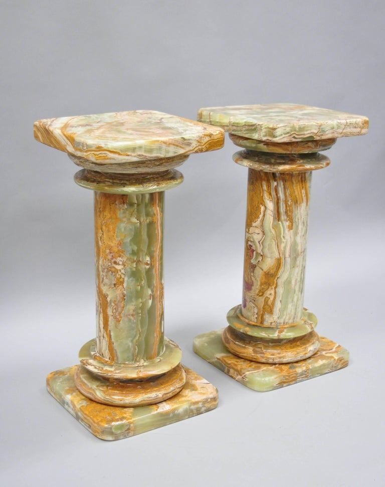 Pair Of Low Italian Style Green Onyx Classical Column
