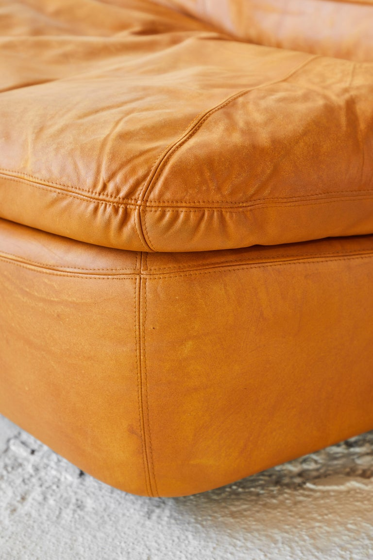 Pair of Low Kor Aldershof Tan Leather Lounge Chairs For Sale 7
