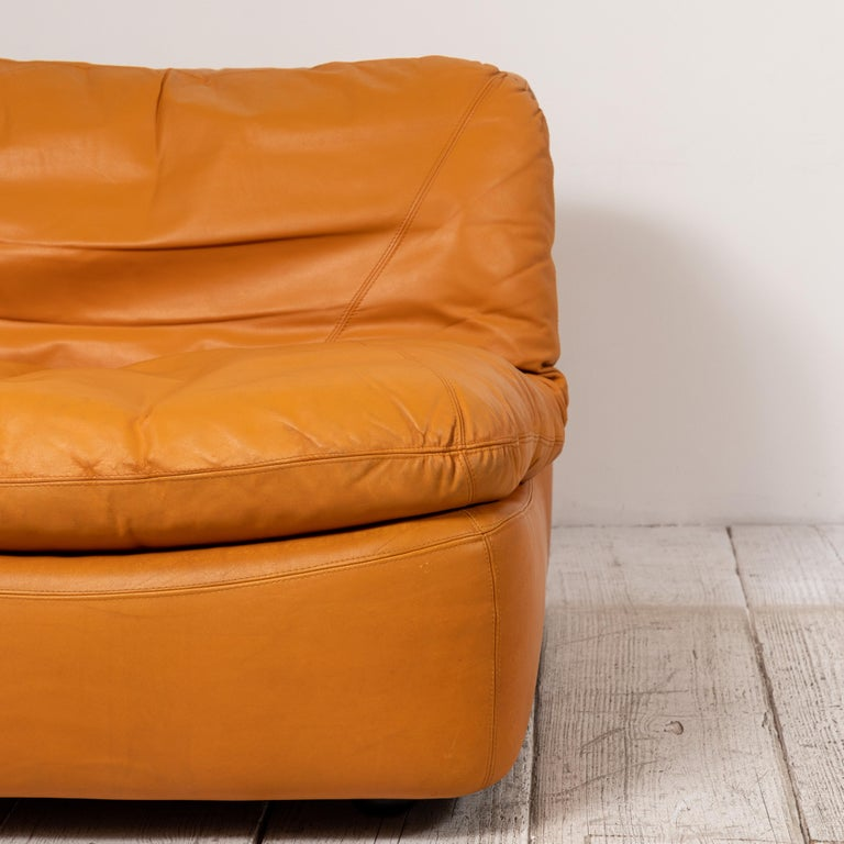 Pair of Low Kor Aldershof Tan Leather Lounge Chairs For Sale 8