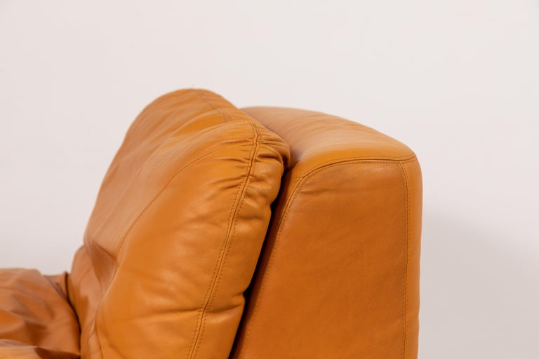 Pair of Low Kor Aldershof Tan Leather Lounge Chairs For Sale 9