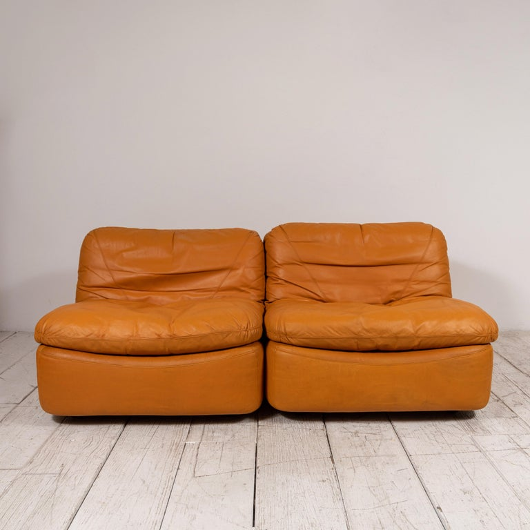 Mid-20th Century Pair of Low Kor Aldershof Tan Leather Lounge Chairs For Sale