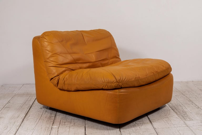 Pair of Low Kor Aldershof Tan Leather Lounge Chairs For Sale 2