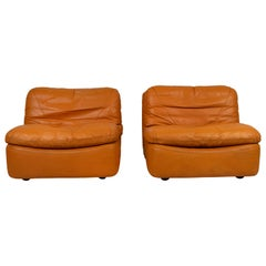 Pair of Low Kor Aldershof Tan Leather Lounge Chairs