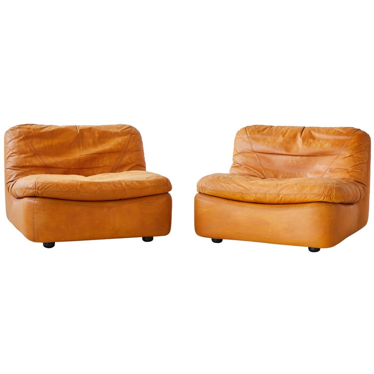 Pair of Low Kor Aldershof Tan Leather Lounge Chairs For Sale